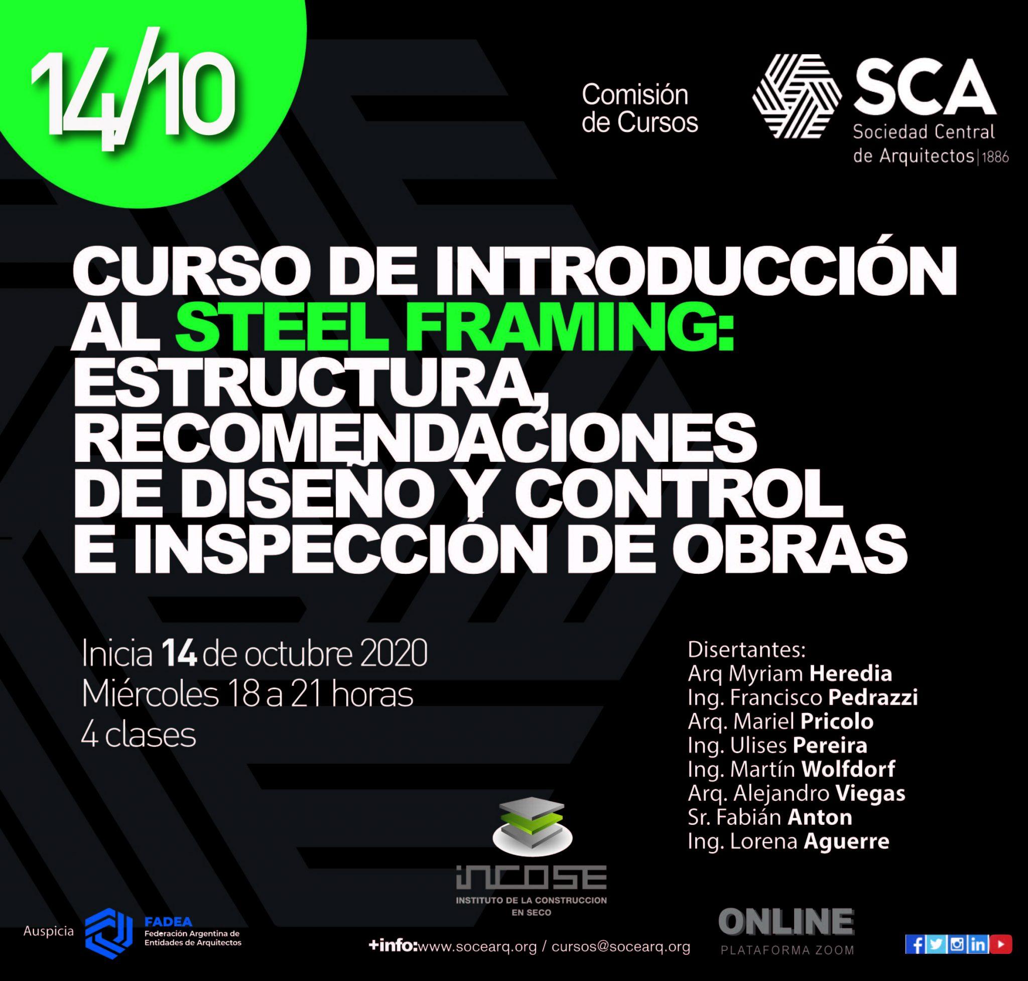CURSO DE INTRODUCCIÓN AL STEEL FRAMING: INCOSE & SCA